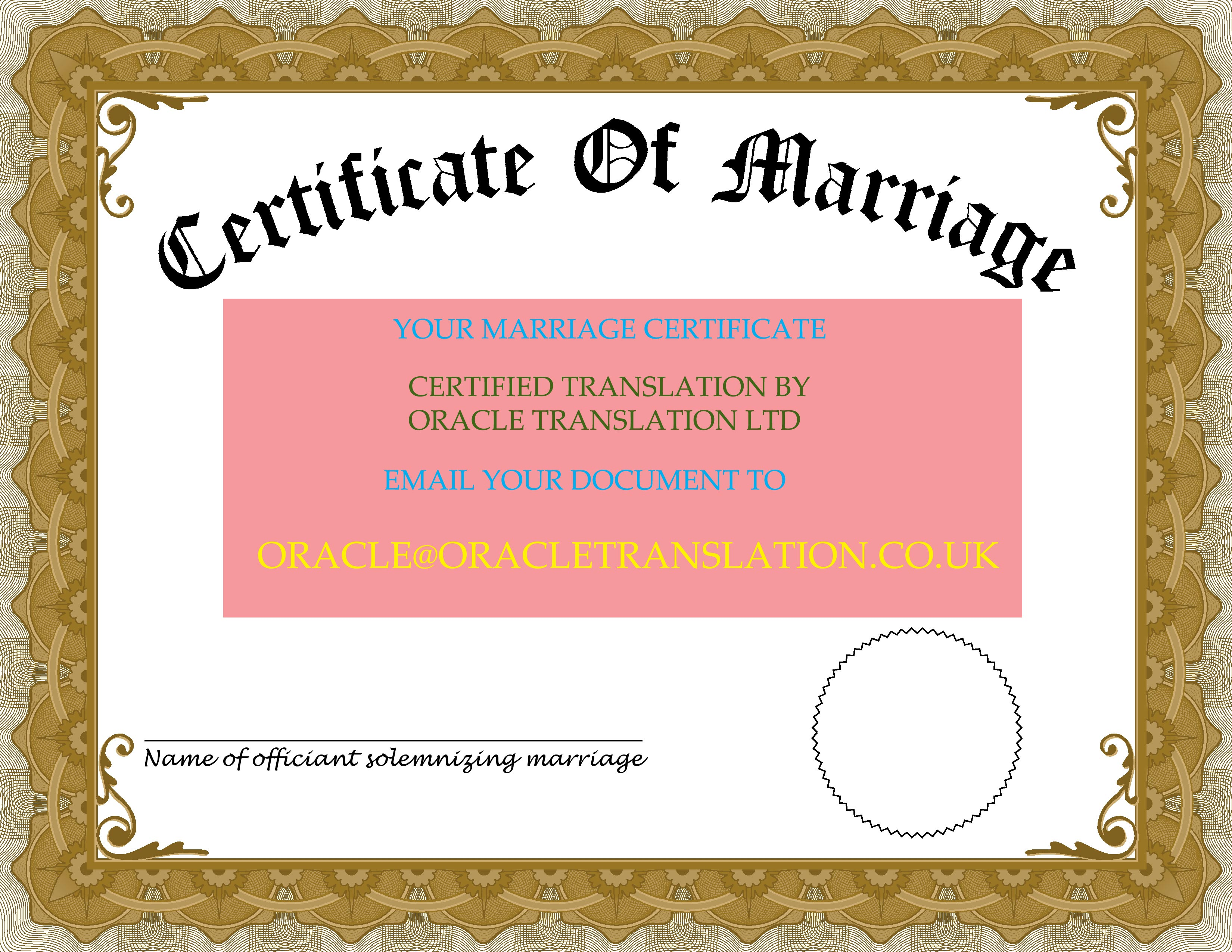 Professional Marriage Certificate Translation