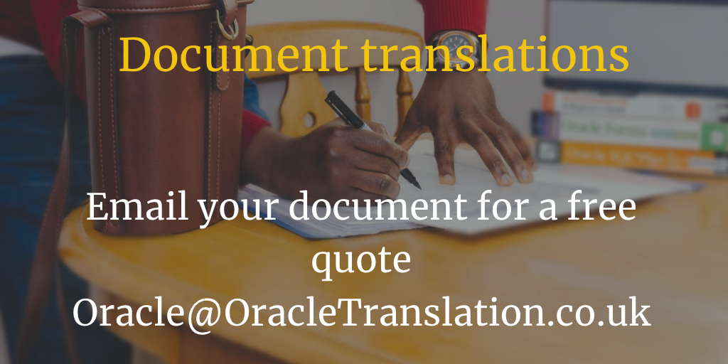 Oracle Translation will provide you a free quote for document translation in minutes